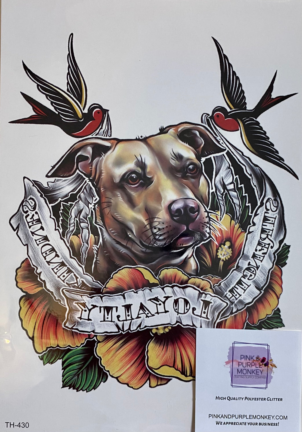 Labrador with Birds (strength, loyalty, kindness) Tattoo - 8 x 5