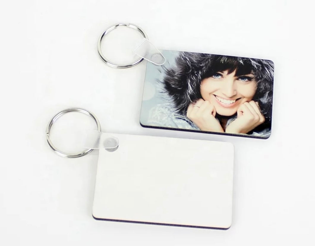 Sublimation BlanK MDF Wood Rectangle Keychain Double Sided