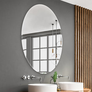 If you are looking for an elliptical mirror with a larger size, this borderless wall mirror is recommended