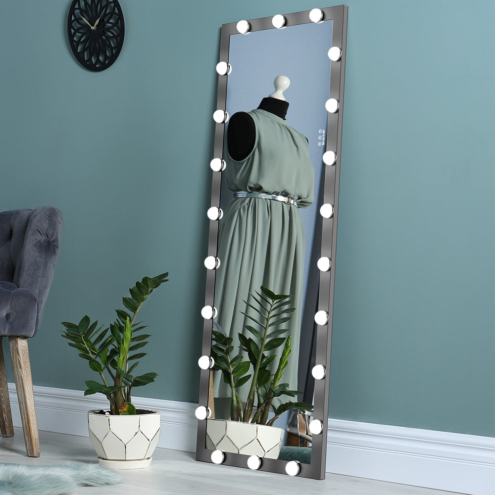 Full Length Lighted Vanity Mirror Standing Square Large Dressing Mirror with Lights Bedroom Floor Mirror Dressing Mirror Wall-Mounted Mirror