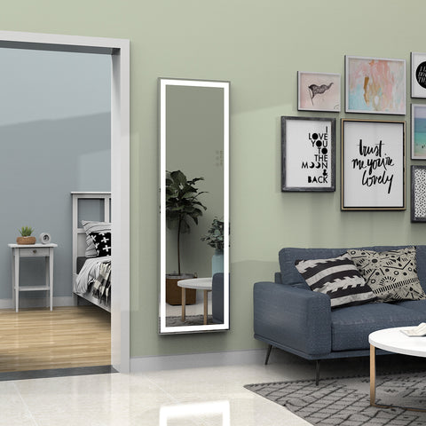 Full Length Wall Mirror Bedroom Floor Mirror Dressing Mirror Vanity Makeup Mirror with Black Metal Frame,Hanging or Leaning Against Wall
