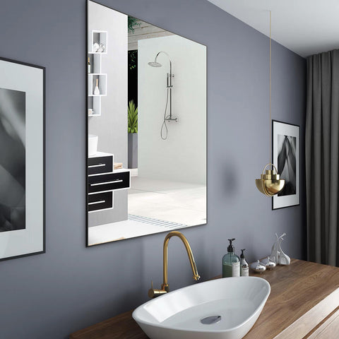 Large minimalist wall mirrors can be hung horizontally or upright, Suitable for bedrooms, cloakrooms, bathrooms, and toilets.