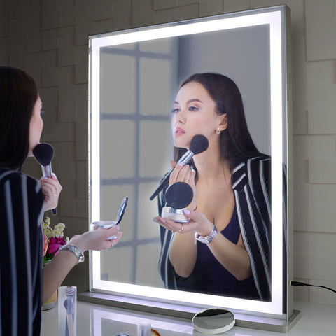 Vanity Mirror with LED Backlit Lights, Lighted Tabletop Hollywood Makeup Mirror for Dressing Room & Bedroom,3 Color Modes with Dimmer