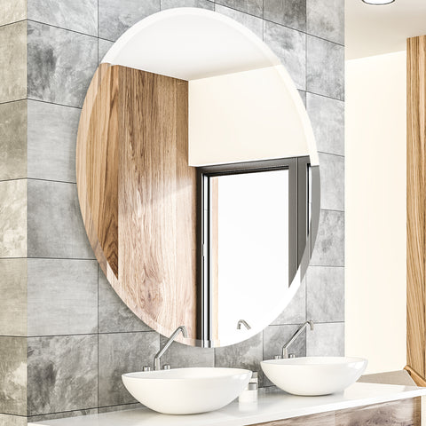 Round Frameless Mirror Large Beveled Wall Mirror for Bathroom, Vanity, Living Room, Bedroom - BEAUTME MIRROR