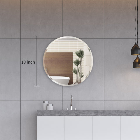 Round Frameless Mirror Large Beveled Wall Mirror for Bathroom, Vanity, Living Room, Bedroom