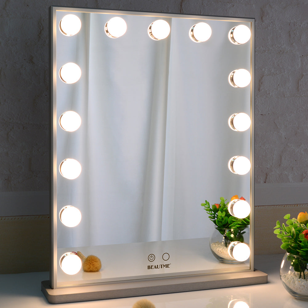 Hollywood Vanity Mirror with 15pcs Adjustable Led Bulbs, Tabletop or Wall Mounted Adjustable Brightness