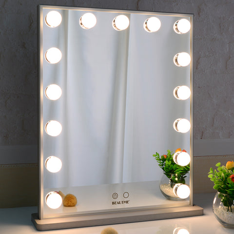 Hollywood Vanity Mirror with 15pcs Adjustable Led Bulbs, Tabletop or Wall Mounted