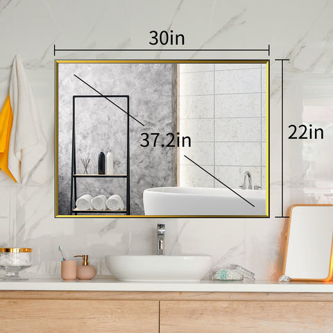Large Wall Mirror with Black Gold Frame, 30''x 22'' Bathroom Mirror for Wall, Decorative Living Room Mirror