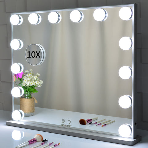 Hollywood Vanity Makeup Mirror Tabletop or Wall Mounted, 14pcs Led Bulbs and Detachable 10X Magnification Mirror