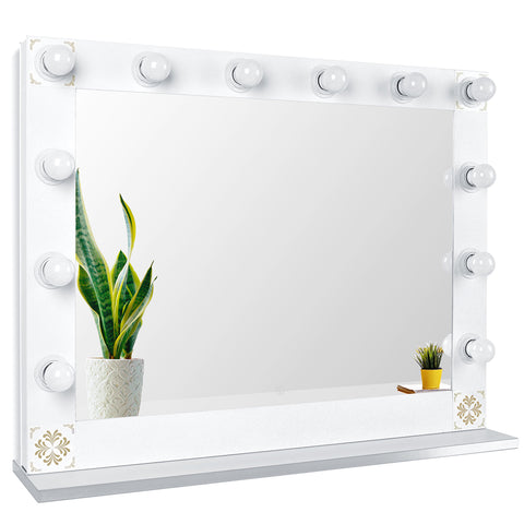 Hollywood Style Lighted Vanity Mirror, Tabletop Makeup Mirror with Dimmer Lights, Touch control Large Cosmetic Mirror