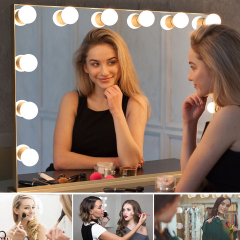 Hollywood Lighted Vanity Makeup Mirror with Lights Large Dressing Tabletop Beauty Mirror with USB Charging Port