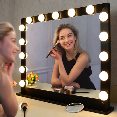 Hollywood Vanity Mirror with Lights,Dressing Tabletop Vanity Mirror with 15pcs Led Lights Large Beauty Mirror - BEAUTME MIRROR