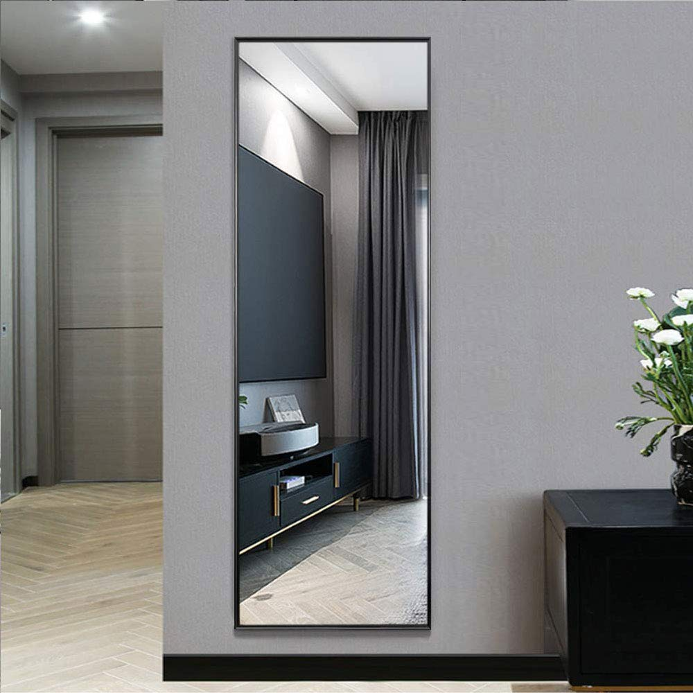 Full Length Mirror Standing Square Large Mirror Bedroom Floor Mirror Dressing Mirror Wall-Mounted Mirror (106cm*35cm, Black) (Black, 41.7