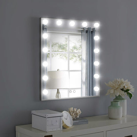 L605V Hollywood Vanity Mirror with 15pcs Adjustable Led Bulbs, Tabletop or Wall Mounted Adjustable Brightness