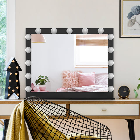 Hollywood Vanity Mirror with Lights,Dressing Tabletop Vanity Mirror with 15pcs Led Lights Large Beauty Mirror