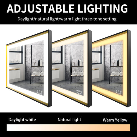 LED Bathroom Mirror Wall Mounted Makeup Mirror with Light Over Vanity