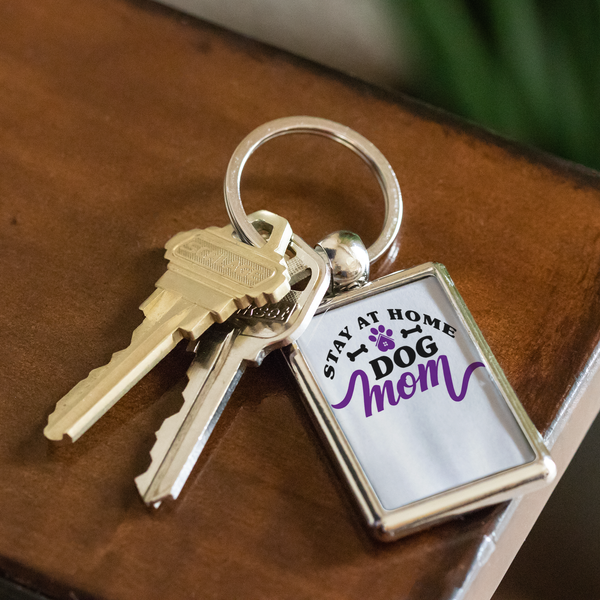 'Stay At Home Dog Mom' Dog Lover Keychain