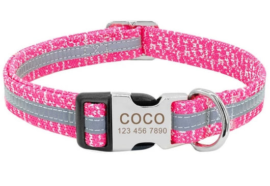 Personalized Reflective Dog Collar - Custom Engraved Reflective Dog Collar