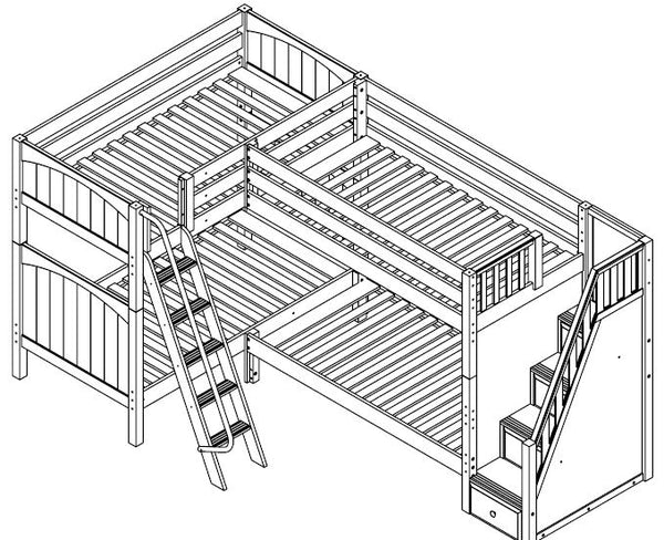 Maxtrix Corner High Bunk Bunk (Angled/Staircase)