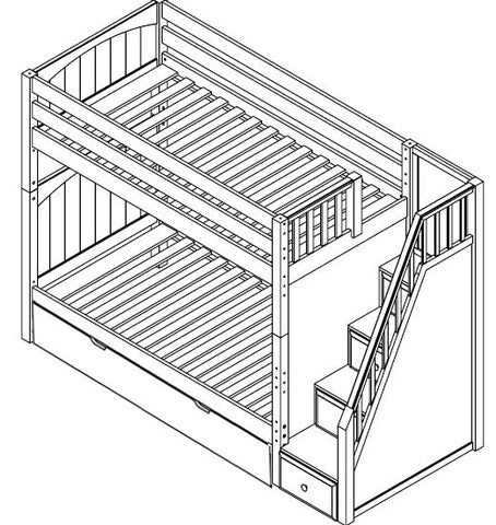 Maxtrix High Bunk w Staircase (w Pullout)