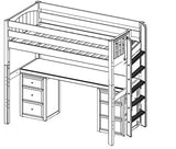 Maxtrix High Loft w Side Straight Ladder w Table w Drawers