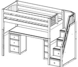 Maxtrix High Loft w Staircase w Table w Drawers