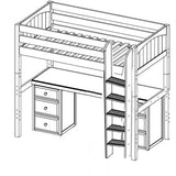 Maxtrix High Loft w Straight Ladder w Table w Drawers
