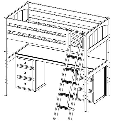 Maxtrix High Loft w Angled Ladder w Table w Drawers