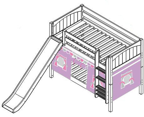 Maxtrix Low Bunk w Mounted Ladder w Slide w Curtains