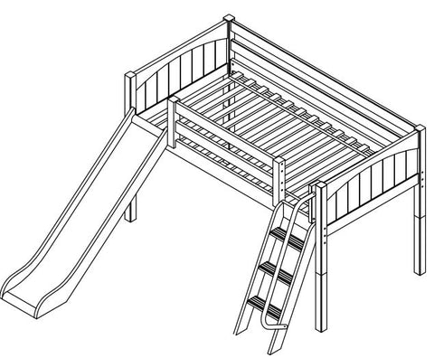 Maxtrix Low Loft w Angled Ladder w Slide