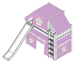 Maxtrix Mid Loft w Straight Ladder w Slide w Curtains w Top Tent