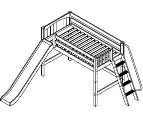 Maxtrix Mid Loft w Side Angled Ladder w Slide