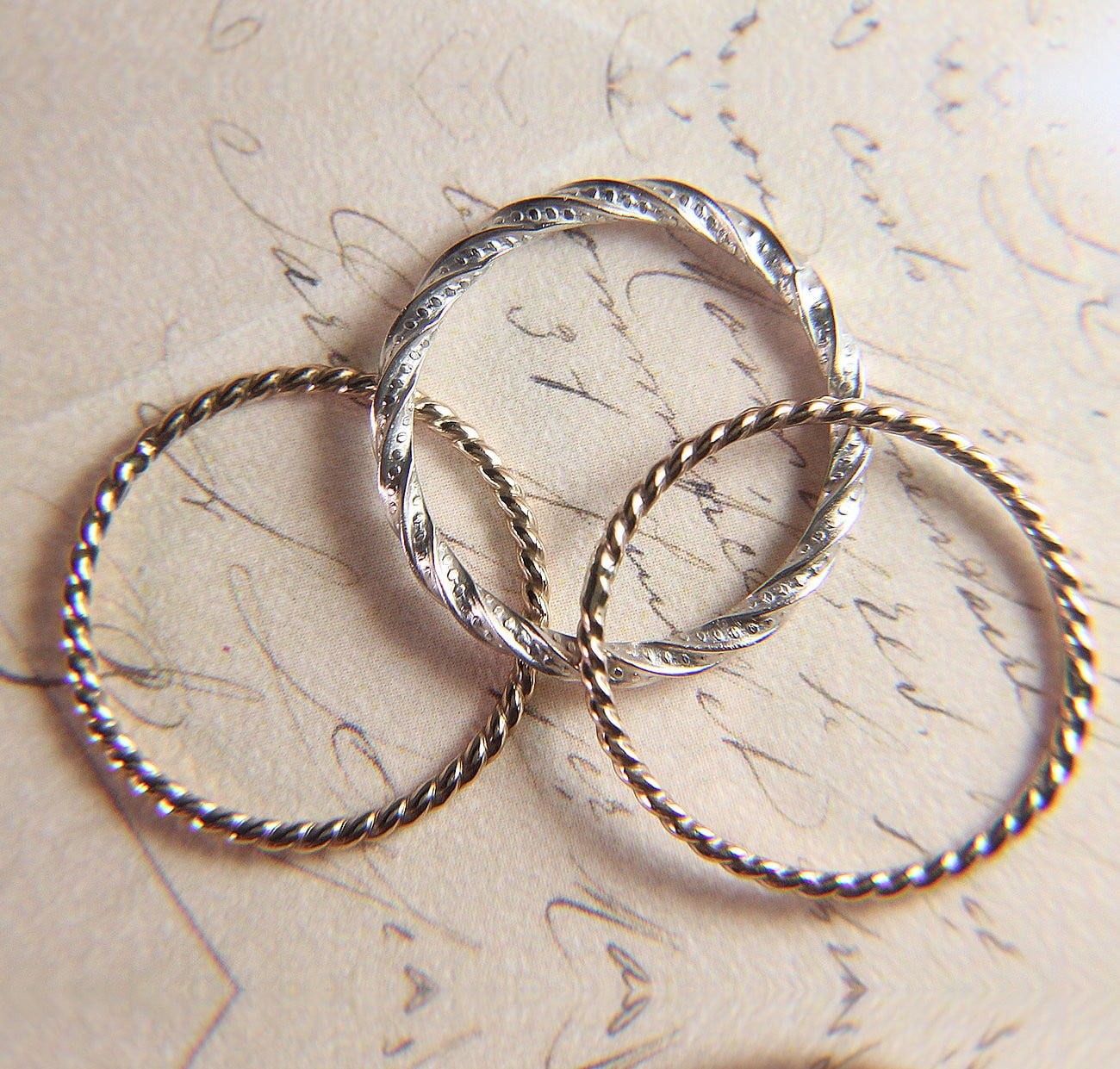 Silver & Gold Twist Stacking Set