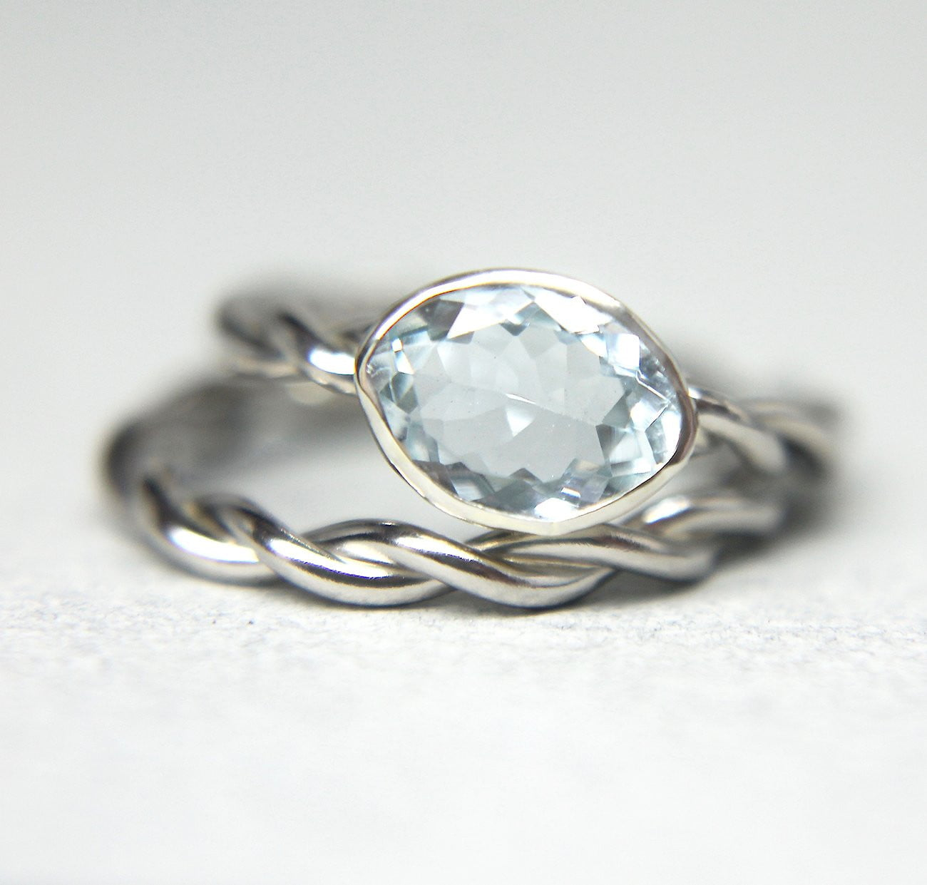 14K Palladium Aquamarine Set