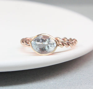 14K Aquamarine Rope Ring