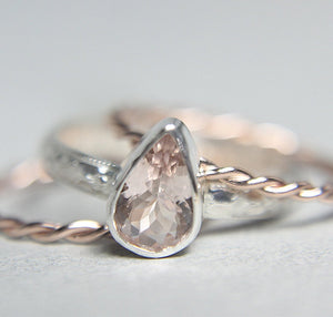 Morganite Gold Ring Set