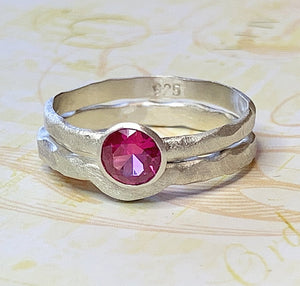 Organic Ruby Wedding Set