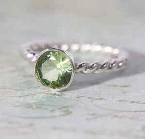 Spring Peridot Solitaire Ring