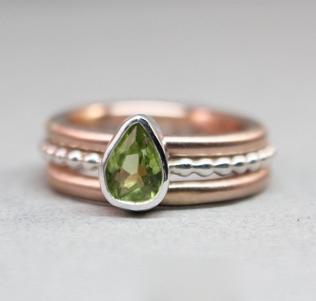 Rose Gold & Silver Peridot Set