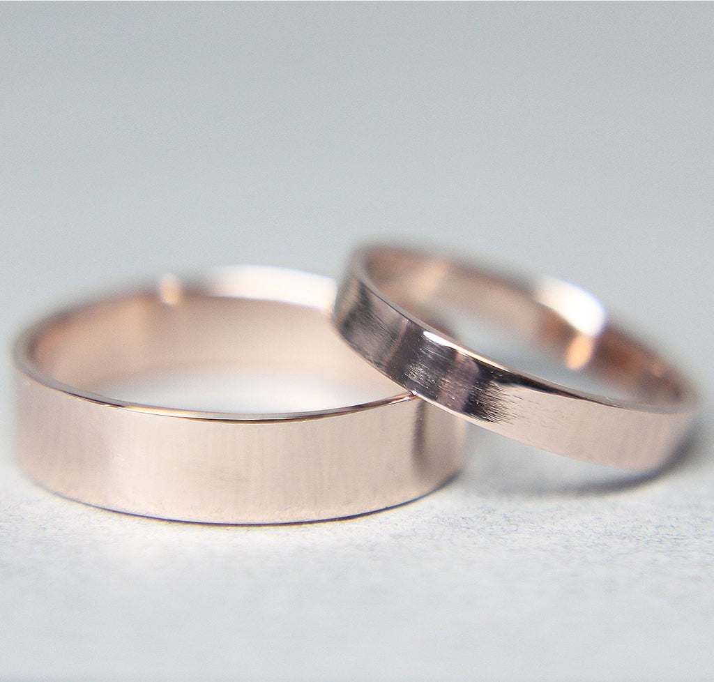 14K Red Gold Modern Bands