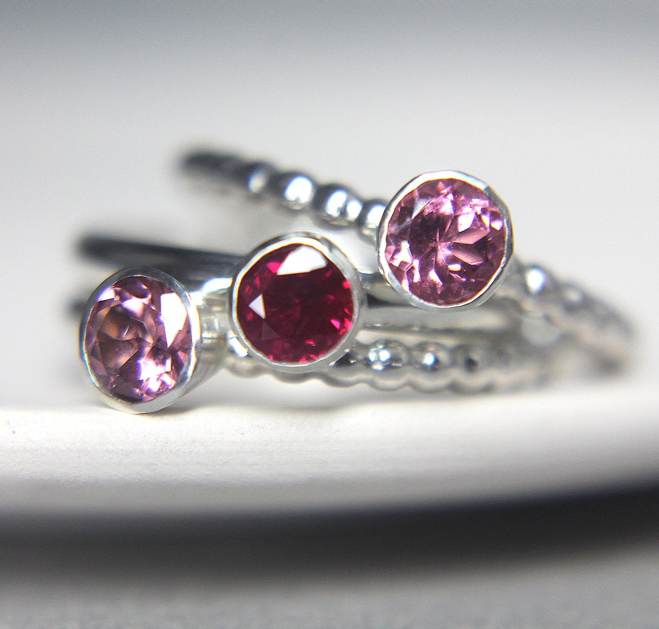 Ruby & Pink Tourmaline Silver Set