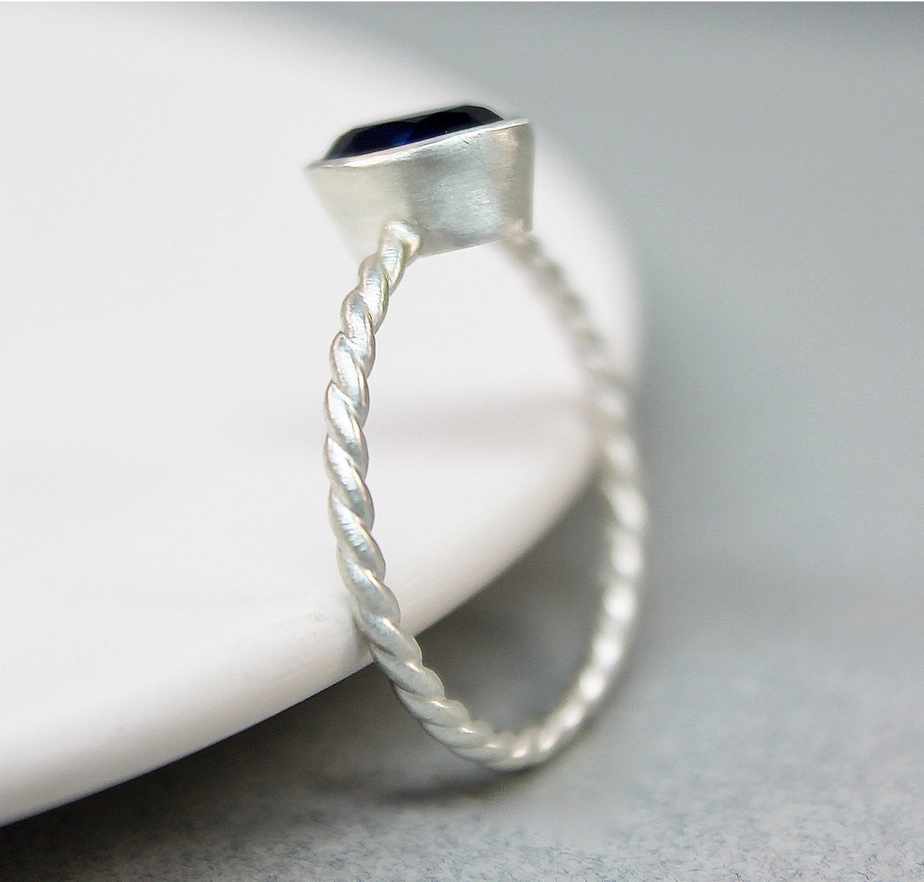 Sapphire Silver Twist Ring