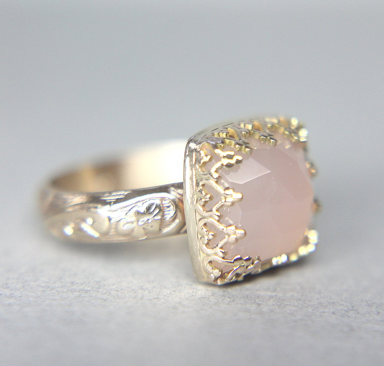 Vintage Pink Chalcedony Solitaire
