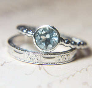 Aquamarine 'Kisses' Wedding Set