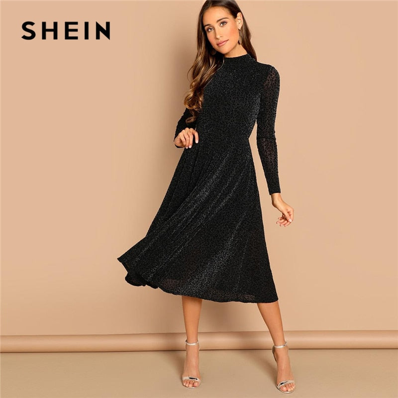 db6f5748b9 ... Load image into Gallery viewer, SHEIN Black Sheer Sleeve Glitter Dress  Elegant Plain Stand Collar ...