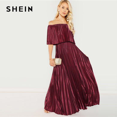 c6794e7783 ... Maxi Party Dresses. SHEIN Burgundy Flounce Foldover Front Off Shoulder  Pleated A Line Solid Elegant Autumn Modern Lady Women