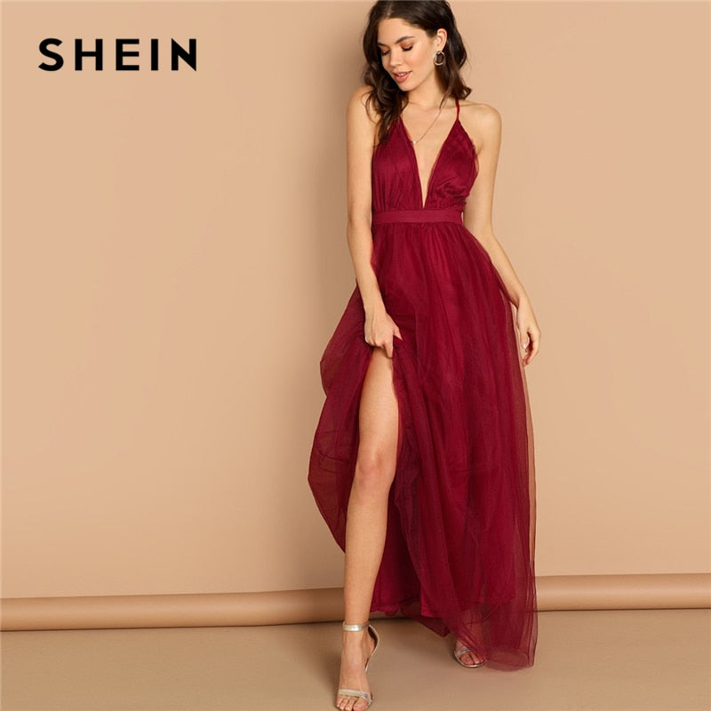 31c19495cf Load image into Gallery viewer, SHEIN Burgundy Plunging Neck Crisscross  Back Cami Dress Maxi Plain ...