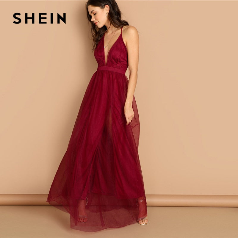 7827d15b91 ... Load image into Gallery viewer, SHEIN Burgundy Plunging Neck Crisscross  Back Cami Dress Maxi Plain ...
