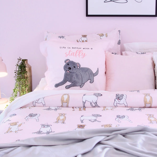 Embossed Euro Pillowcase - Staffy