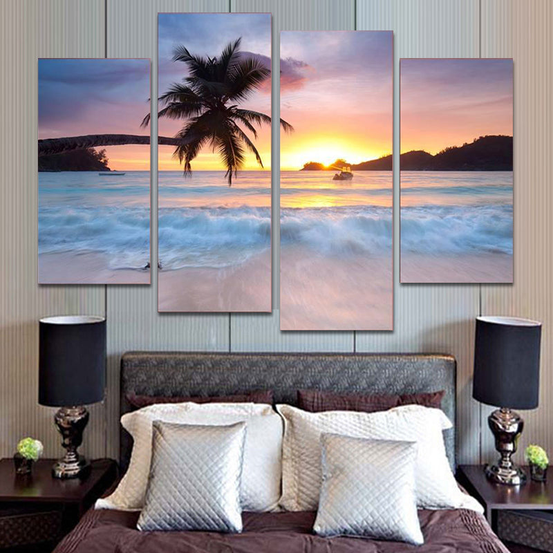 Beach Scene 4 Panel Canvas Art Painting